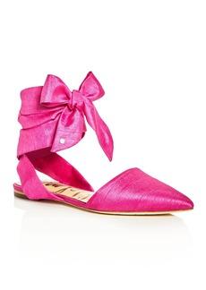 Sam Edelman Brandie Silk Ankle Tie Pointed Toe Flats