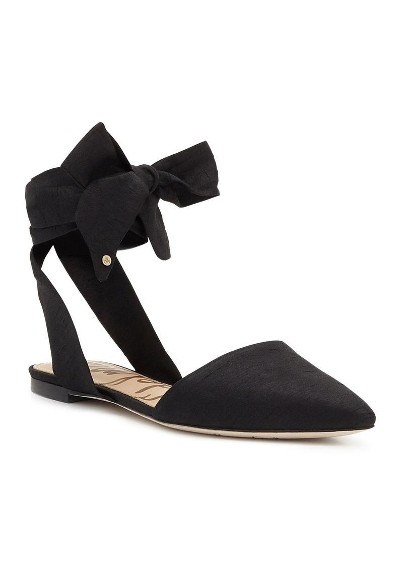 a11be460e6ff Sam Edelman Sam Edelman Brandie Silk Ankle Tie Pointed Toe Flats