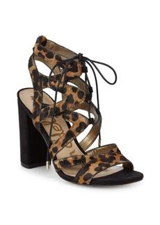 Sam Edelman Calf Hair & Leather Ankle Strap Sandals