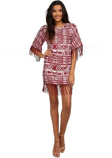 Sam Edelman Cheyenne Fringe Beaded Poncho Dress