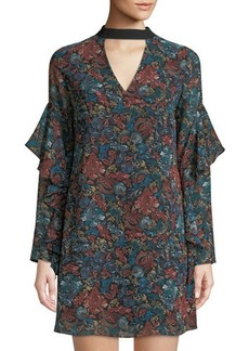 Sam Edelman Choker-Neck Printed Chiffon Shift Dress
