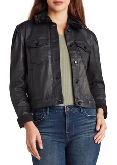 Sam Edelman Denim The Jazzi Faux-Fur-Collar Coated Jacket