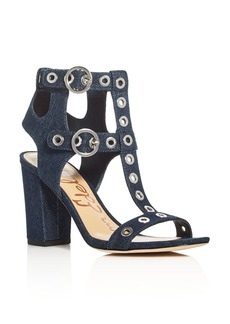 Sam Edelman Eyda Denim Grommet Embellished High Heel Sandals