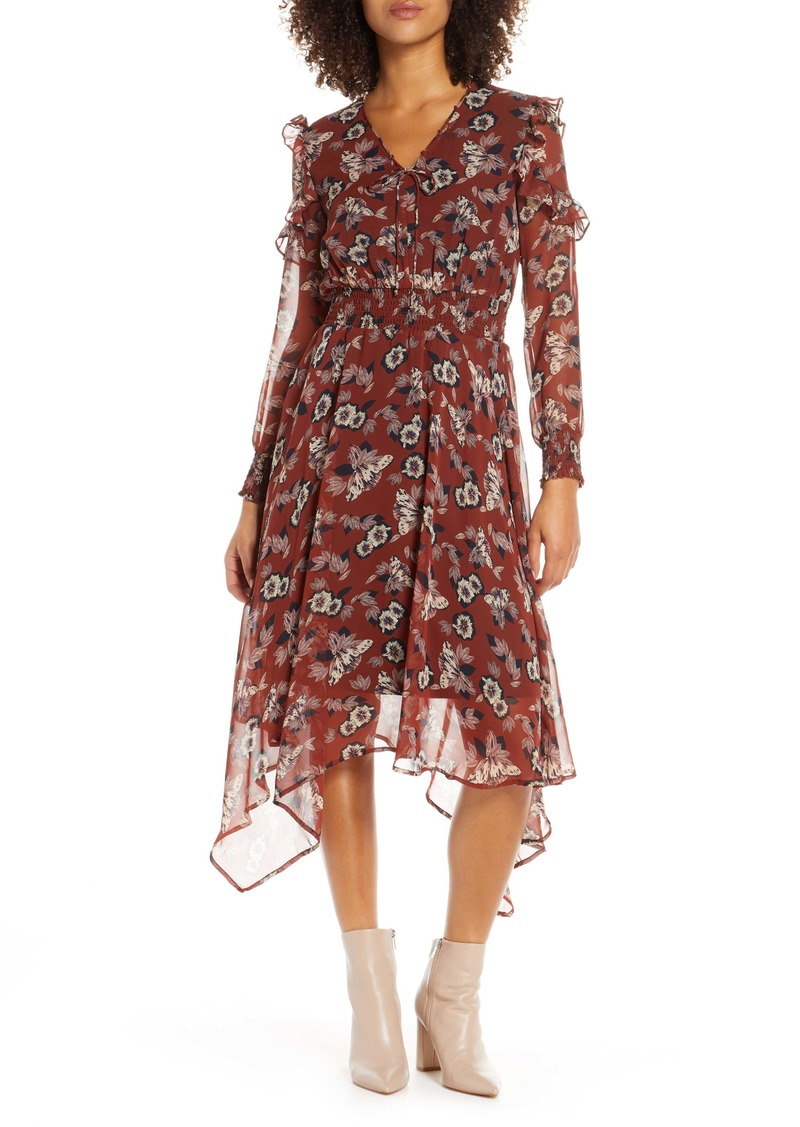 Sam Edelman Fanciful Flower Long Sleeve Dress