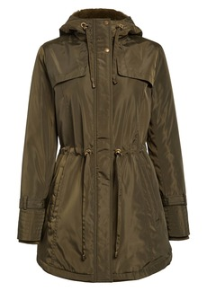Sam Edelman Faux Fur Lined Water Repellent Hooded Raincoat