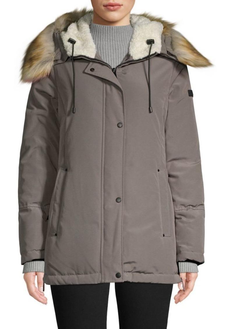 Sam Edelman Faux Fur-Trim Hooded Coat