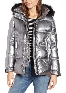 Sam Edelman Faux Fur Trim Hooded Puffer Coat