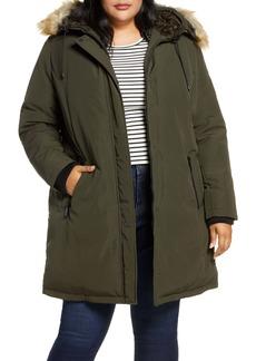 Sam Edelman Faux Fur Trim Short Parka (Plus Size)