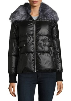 Sam Edelman Faux Fur-Trimmed Zip Front Puffer Coat