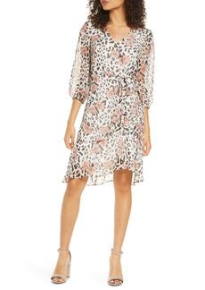 Sam Edelman Floral & Leopard Faux Wrap Dress