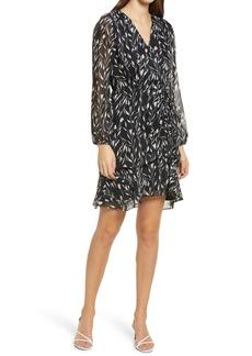 Sam Edelman Floral Chiffon Long Sleeve Faux Wrap Dress