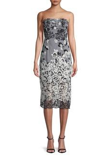 Sam Edelman Floral Embroidered Strapless Sheath Dress