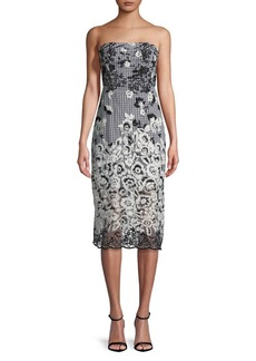 Sam Edelman Floral Embroidered Strapless Sheath Dress