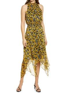 Sam Edelman Floral Print Handkerchief Hem Chiffon Dress