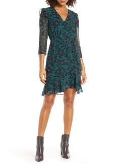 Sam Edelman Floral Ruched Chiffon Dress