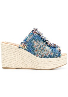 Sam Edelman fringed high-heeled wedges - Blue