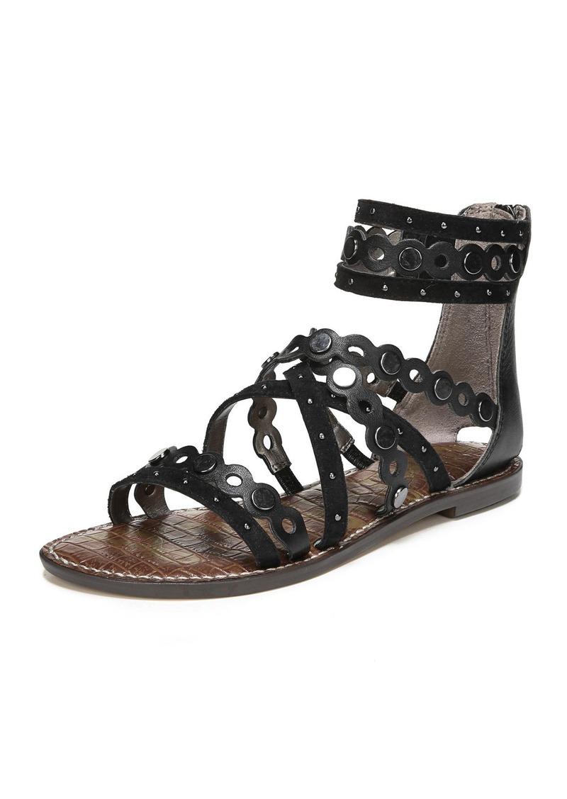 8c1357e9b Sam Edelman Geren Modena Leather Suede Flat Caged Sandal Now  41.25