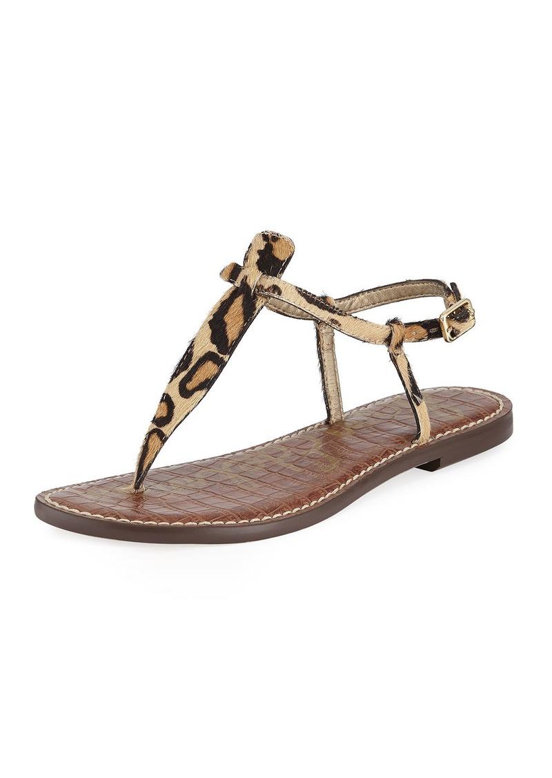 fd4186a1d Sam Edelman Gigi Leopard-Print Calf-Hair Thong Sandal