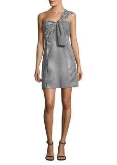 Sam Edelman Gingham One-Shoulder A-Line Dress