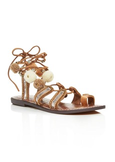 Sam Edelman Graciela Embellished Lace Up Sandals with Pom-Poms - 100% Exclusive