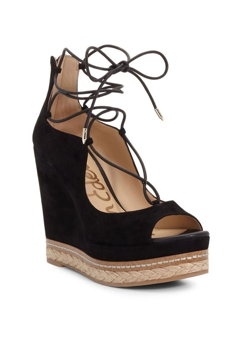 ee818c9205e Harriet Peep-Toe Lace-Up Wedge Sandals