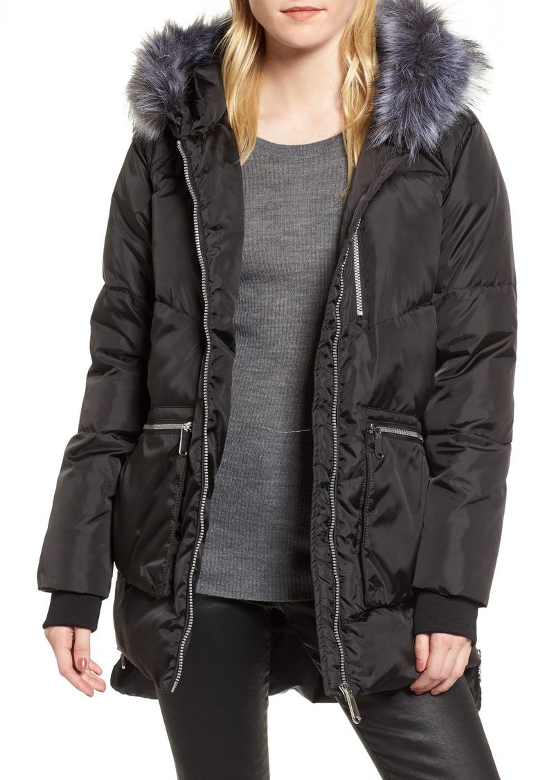 Sam Edelman Sam Edelman Hooded Puffer Jacket With Faux Fur