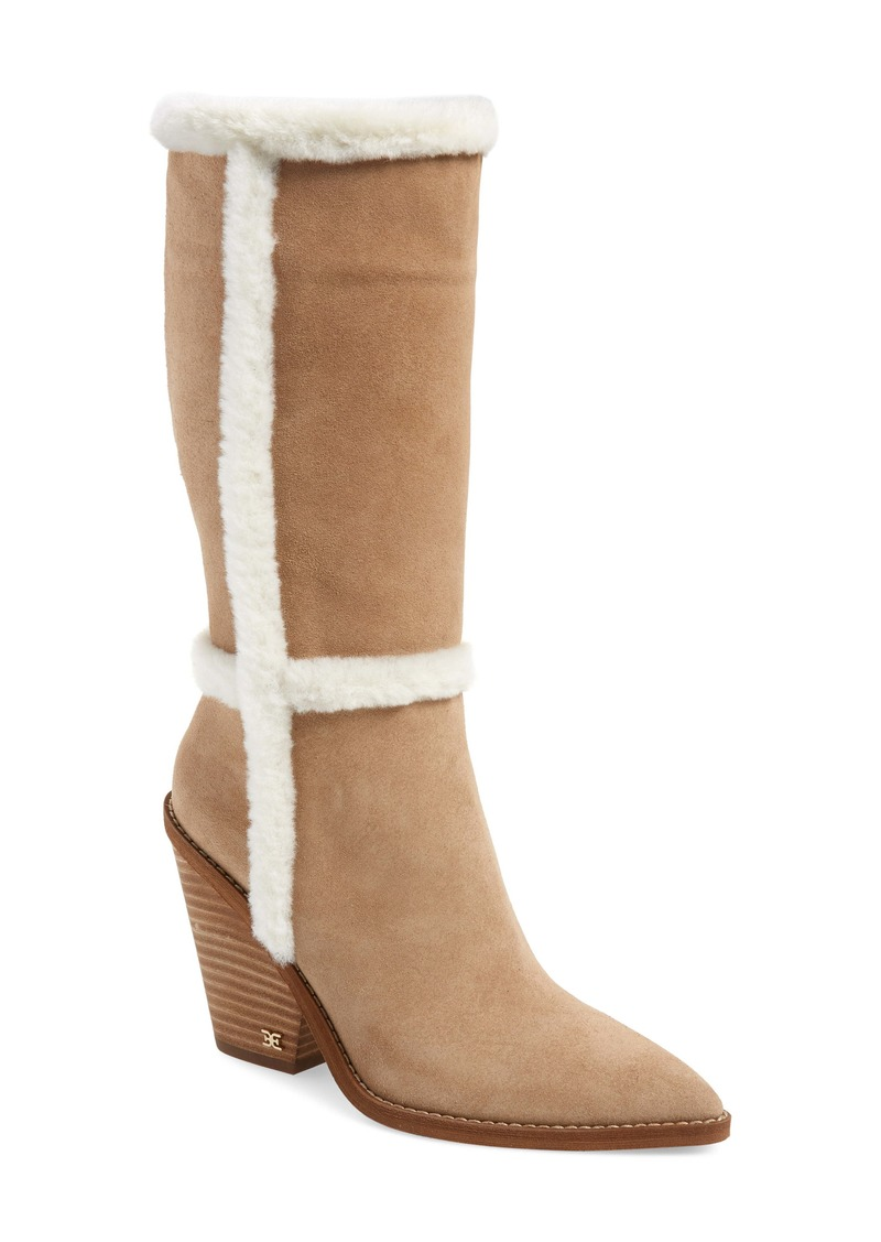 Sam Edelman Ilsa Faux Fur Trim Block Heel Boot (Women)
