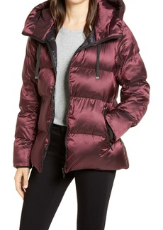 Sam Edelman Iridescent Water Repellent Hooded Puffer Jacket