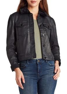 Sam Edelman Jazzi Coated Denim Jacket with Faux Fur Collar