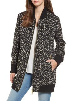 Sam Edelman Leopard Print Longline Bomber Jacket
