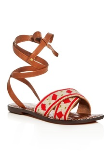 Sam Edelman Luisa Beaded Ankle Wrap Sandals