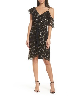Sam Edelman Metallic Dot Cold Shoulder Sheath Dress