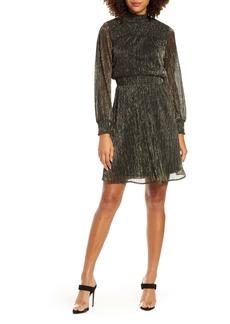 Sam Edelman Metallic Long Sleeve Smocked Dress