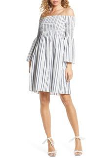 Sam Edelman Metallic Ticking Stripe Smocked Off the Shoulder Dress