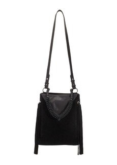 Sam Edelman Monica Leather and Suede Fringed Bucket Bag