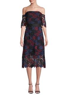 Sam Edelman Off-Shoulder Tonal Lace A-Line Dress