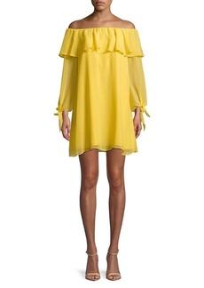 Sam Edelman Off-The-Shoulder Ruffled Dress