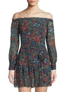 Sam Edelman Off-the-Shoulder Sash-Waist Mini Dress
