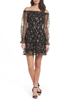 Sam Edelman Off the Shoulder Star Embroidered Dress