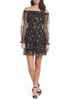 Sam Edelman Off the Shoulder Star Embroidered Dress