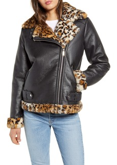 Sam Edelman Oversize Faux Shearling Moto Jacket