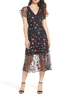 Sam Edelman Pansy Embroidered Mesh Midi Dress