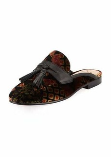 Sam Edelman Paris Floral-Embroidered Velvet Tassel Mule Loafer