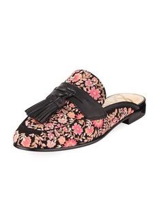Sam Edelman Paris Floral-Embroidered Velvet Tassel Mule Loafer