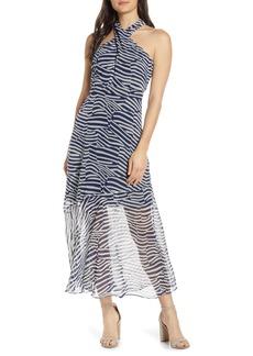 Sam Edelman Patchwork Stripe Print Chiffon Halter Midi Dress