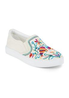 Sam Edelman PeonyRound-Toe Embroidered Sneakers