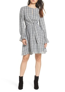 Sam Edelman Plaid Knot Front Fit & Flare Dress