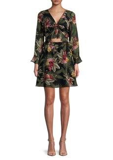 Sam Edelman Printed Bell-Sleeve Dress