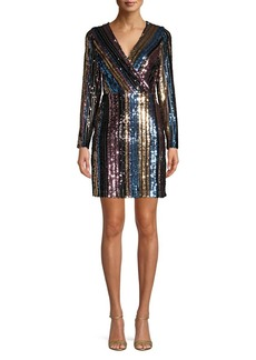Sam Edelman Rainbow Striped Sequin Sheath Dress