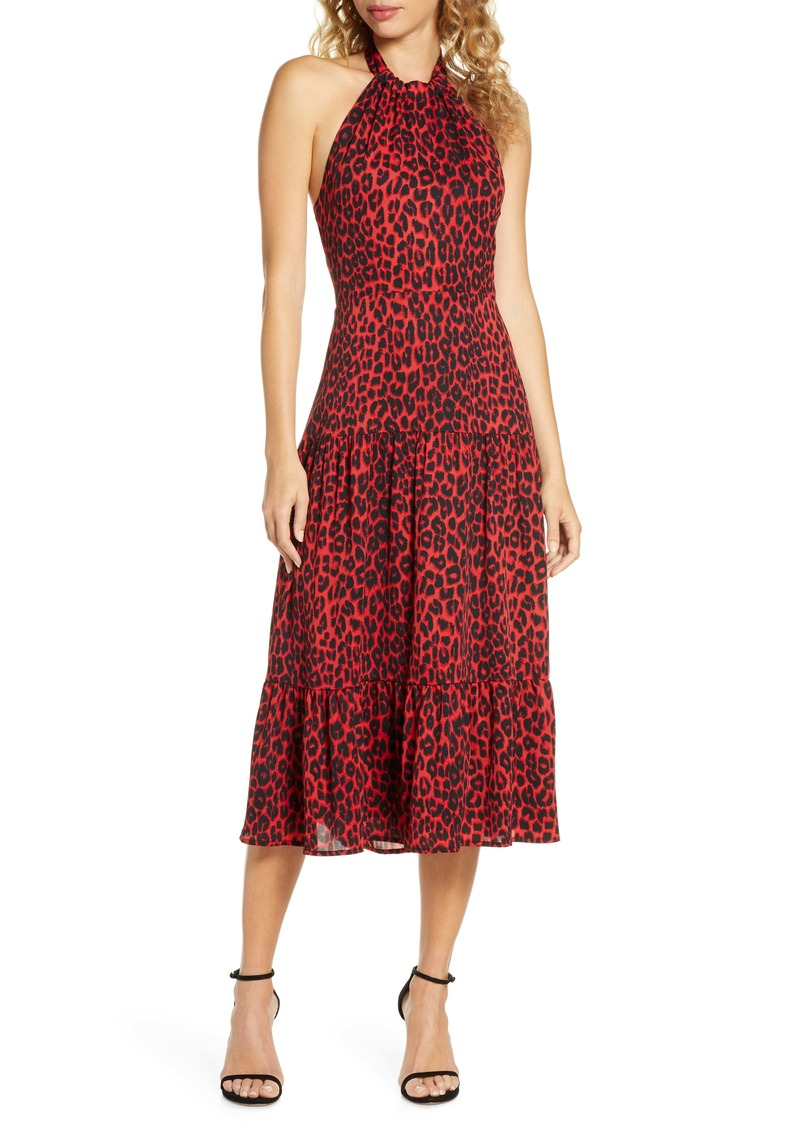 Sam Edelman Red Leopard Halter Midi Dress